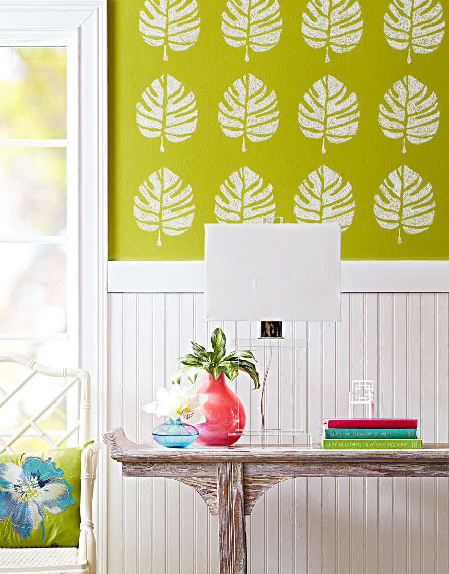 Wallpaper chalkboard paint stencil