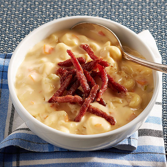 Macaroni and Cheese Chowder with Crispy Ham
