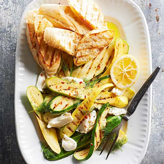 Grilled Zucchini with Mozzarella and Dill