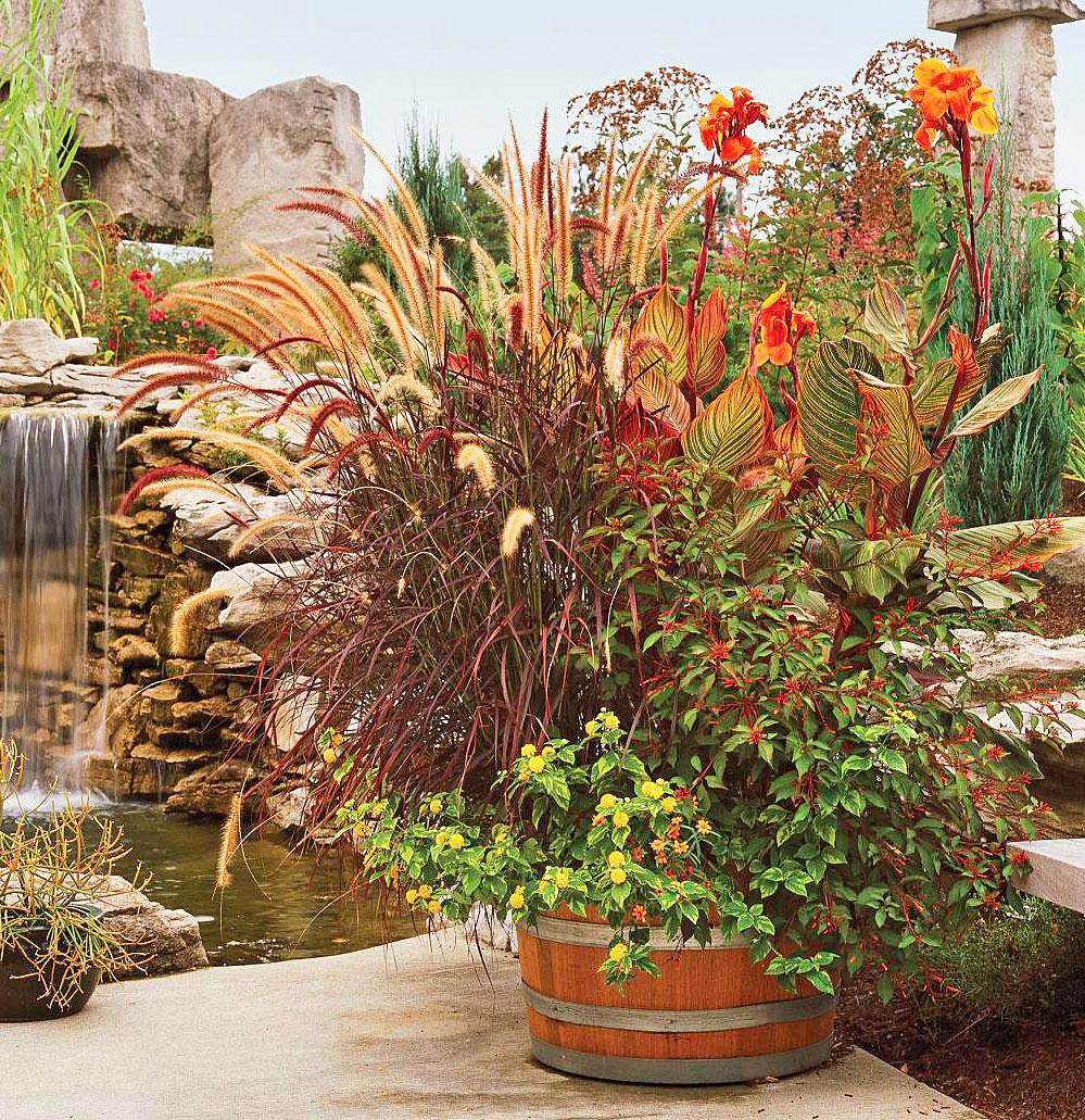 Barrel of foliage
