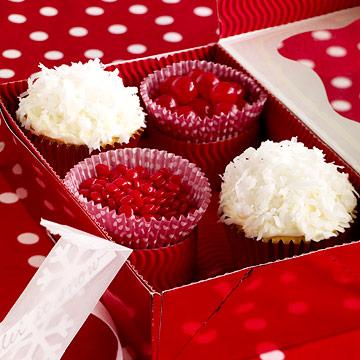 Coconut-Tangerine Snowball Cupcakes