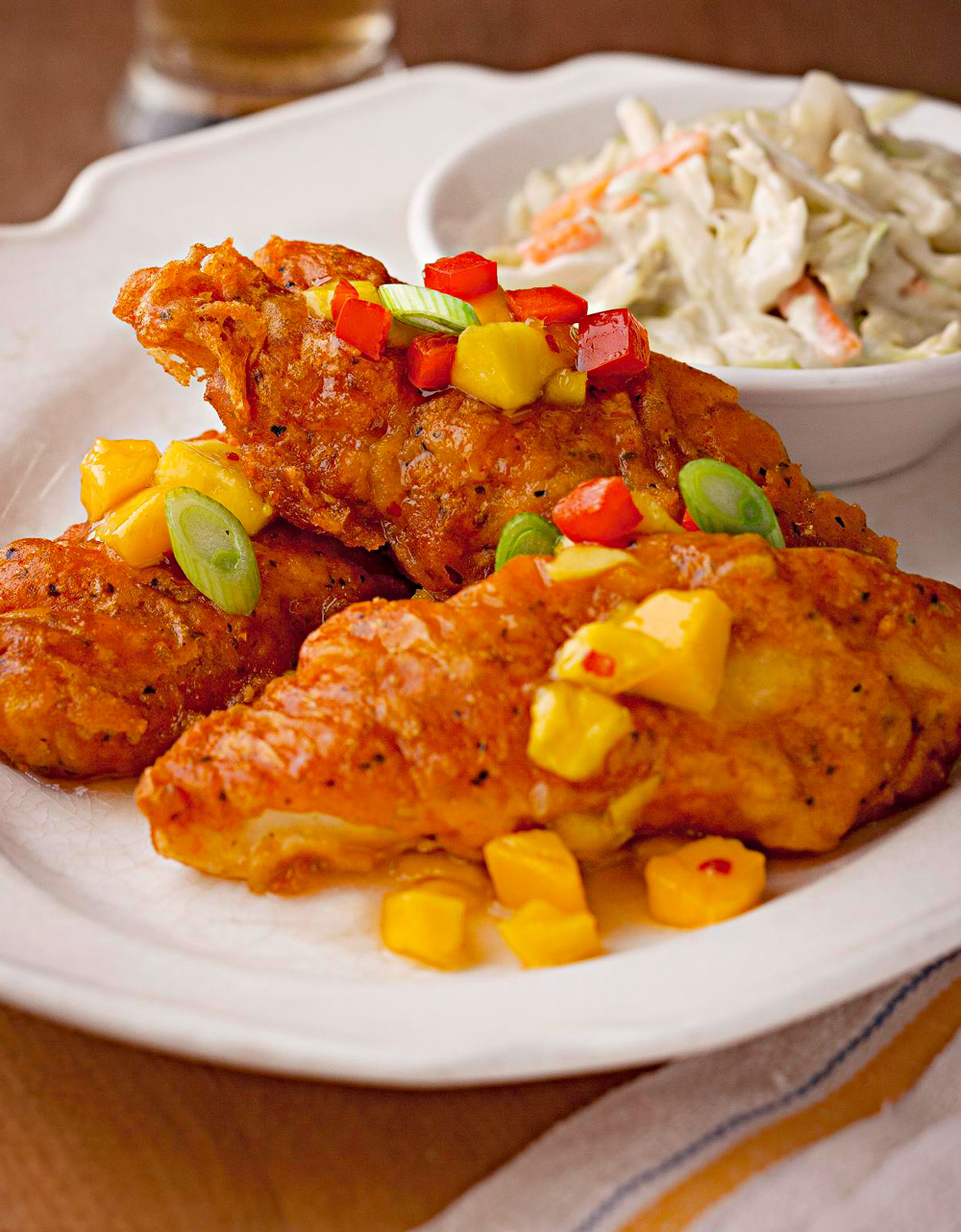 Crispy Beer Batter Fried Walleye with Mango Sweet-and-Sour Sauce