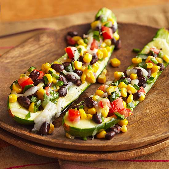 Stuffed Zucchini with Black Beans, Corn and Poblano Pepper