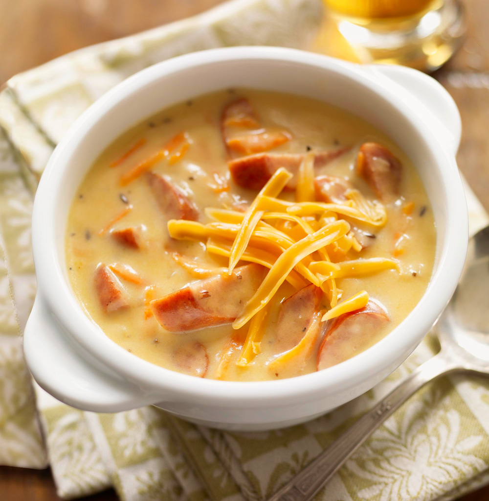 Brats and Beer Cheddar Chowder