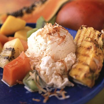 Coconut Ice Cream with Grilled Pineapple