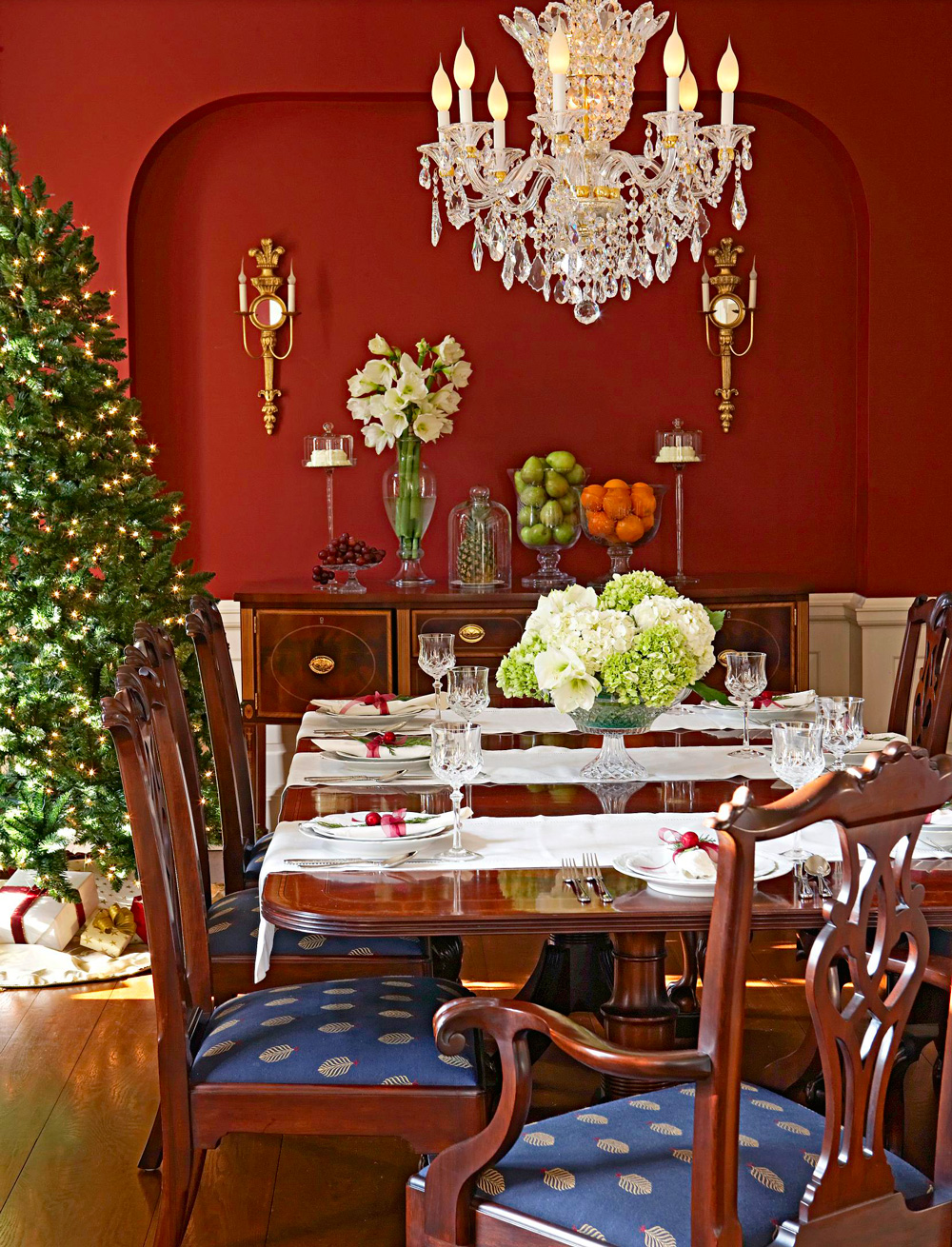 Richly colored dining room