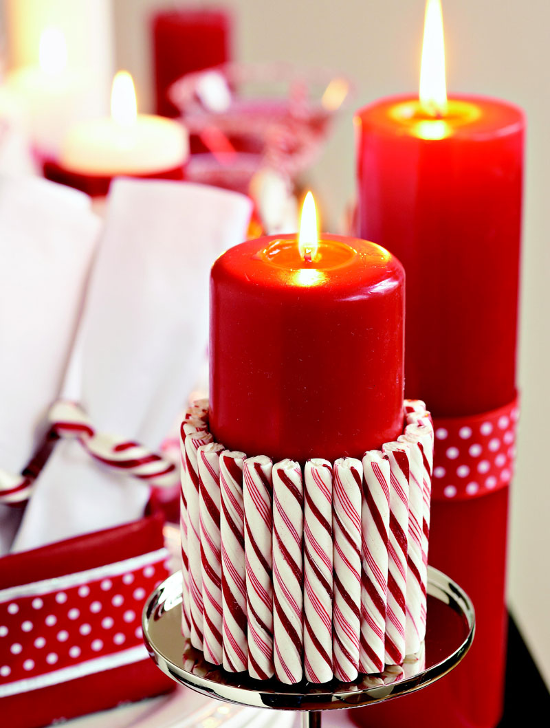 Candy-cane candles