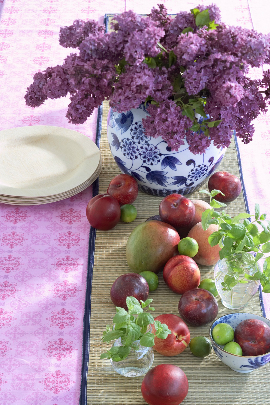 Fruits and flowers centerpiece