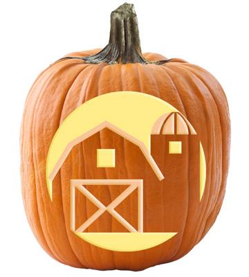 Barn and silo pumpkin stencil