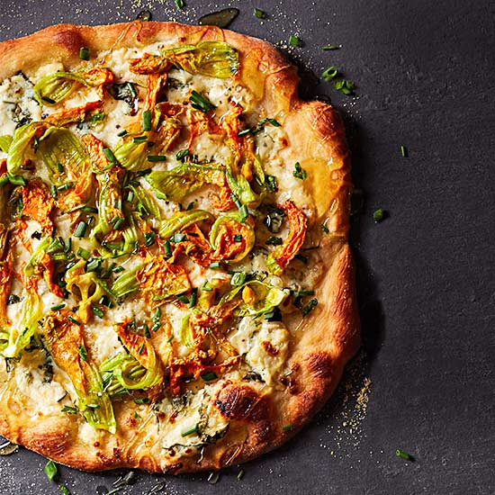 Squash Blossom Pizza with Honey and Ricotta
