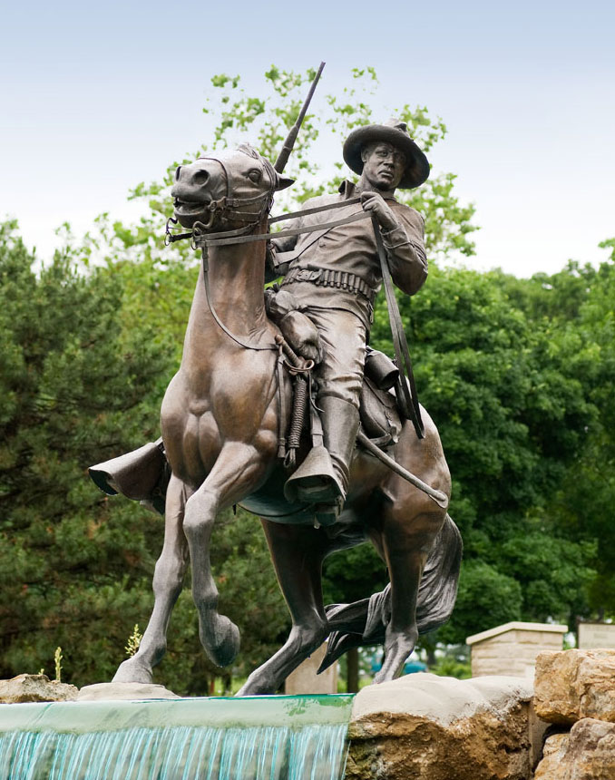 Fort Leavenworth National Cemetery and marvel at the Buffalo Soldier Monument, honoring African-American cavalry and infantry in Leavenworth, Kansas.