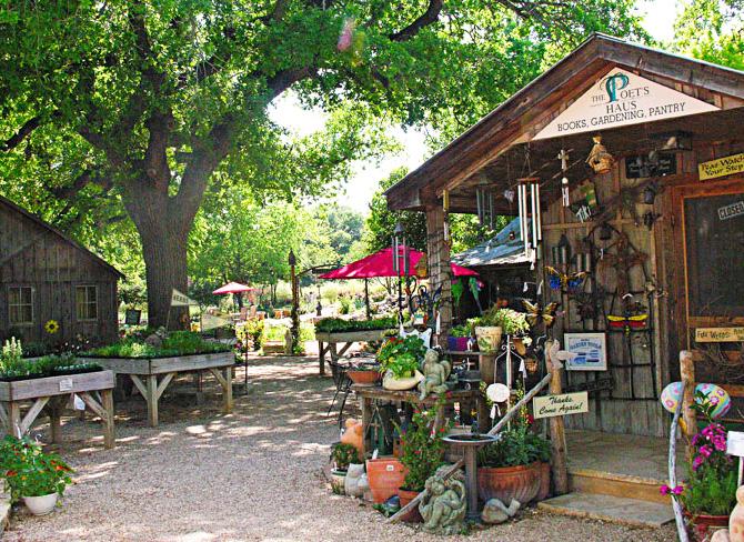 Rustic cabins house a spa and gift shop at Fredericksburg Herb Farm. Photo Courtesy of Fredericksburg Herb Farm.