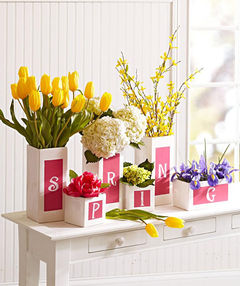 Seasonal chalkboard vases