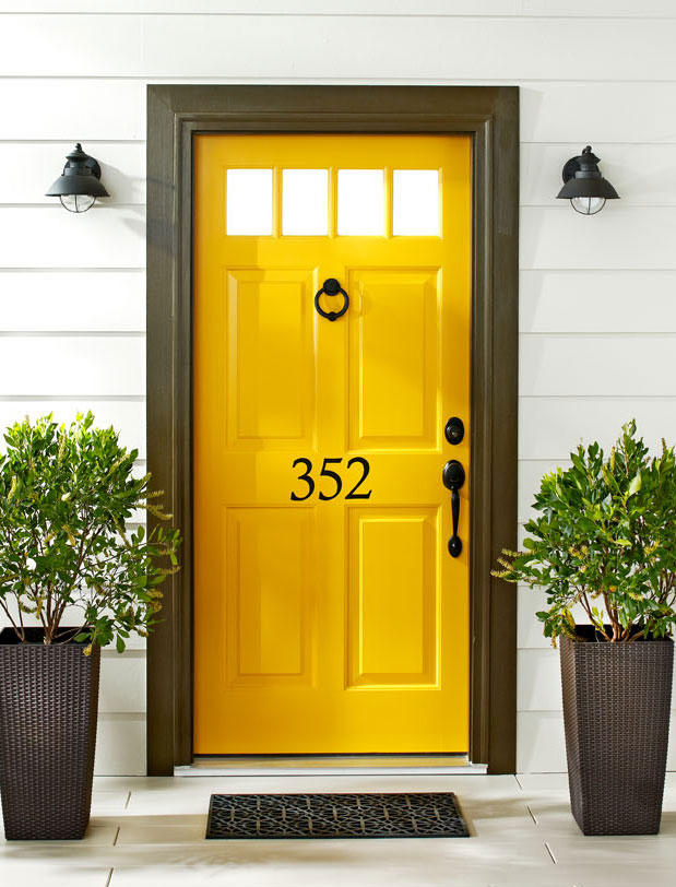Yellow front door.