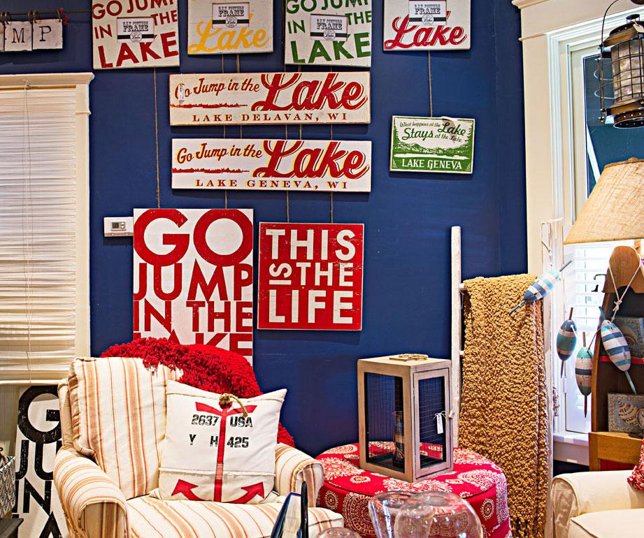 You'll find lake-inspired decor at Brick and Mortar Home.
