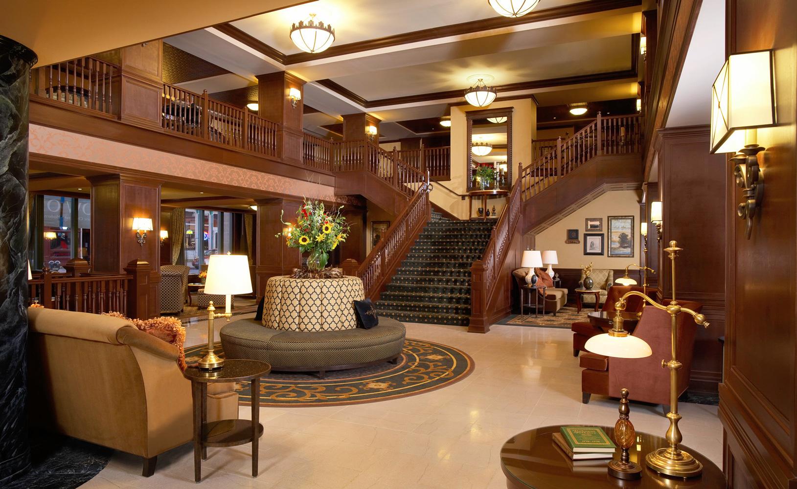 Hotel Julien Dubuque lobby. Photo courtesy of Hotel Julien Dubuque.