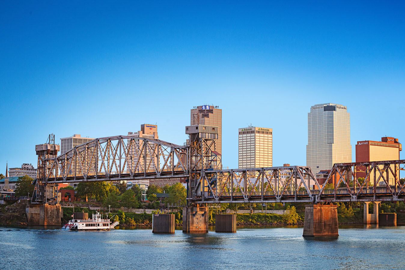 Now a pedestrian path, Junction Bridge spans the Arkansas River in Little Rock.