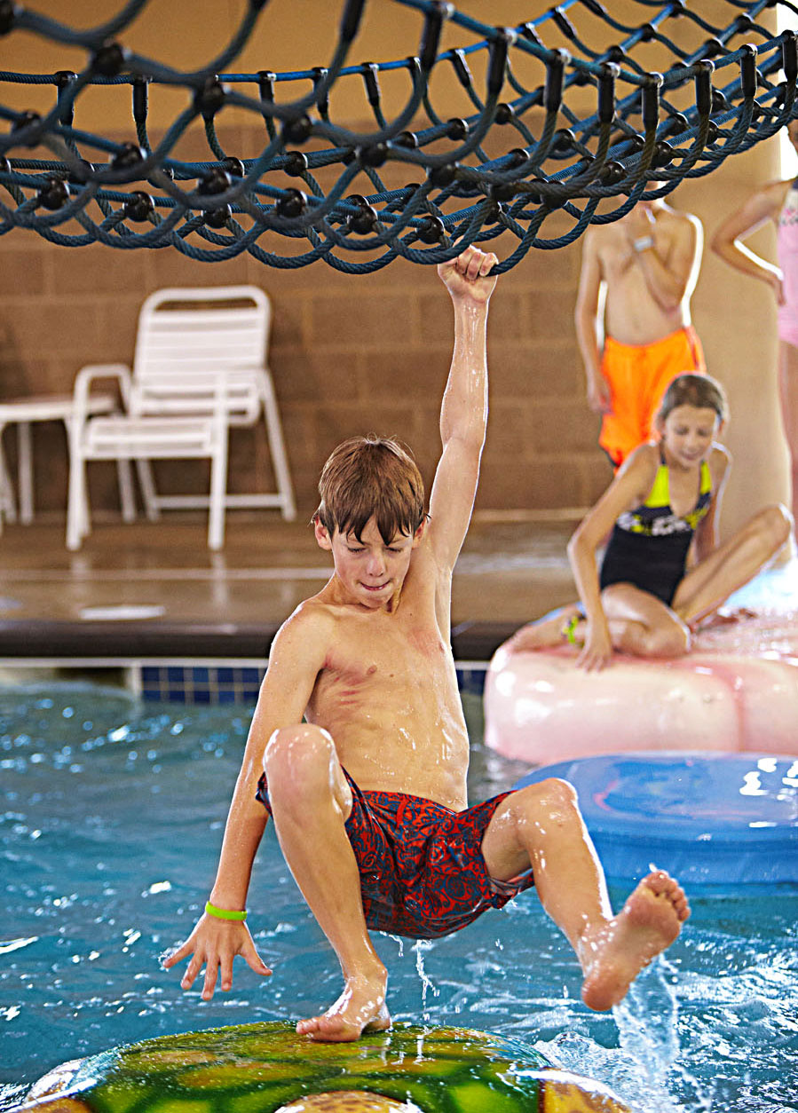 An indoor water park provides its own adventure.