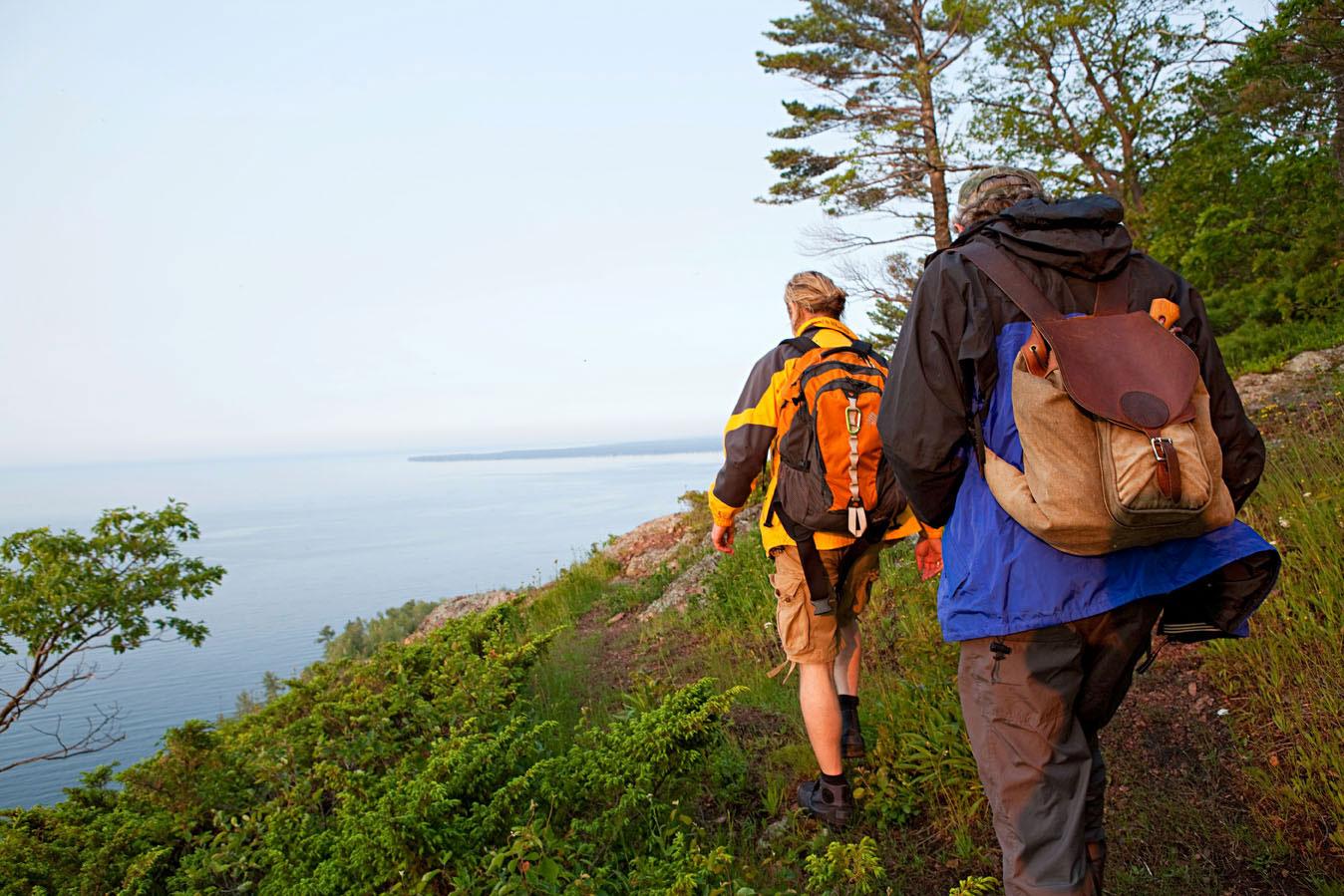 Hiking on the Keweenaw Peninsula.