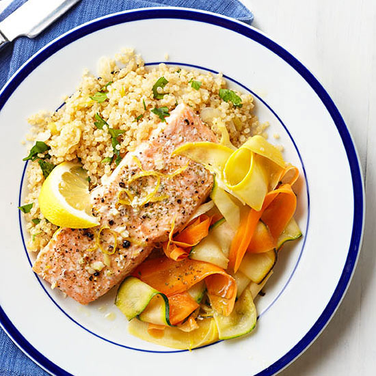 Steamed Salmon with Lemon and Vegetables