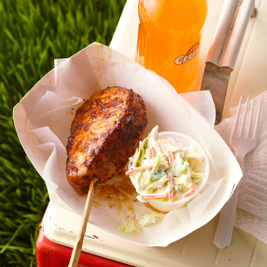 Spice-Rubbed Grilled Pork Chops on a Stick