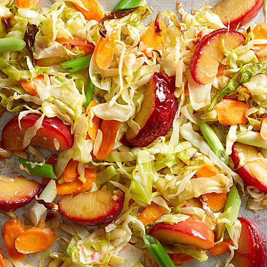 Nutty Asian Cabbage with Plums