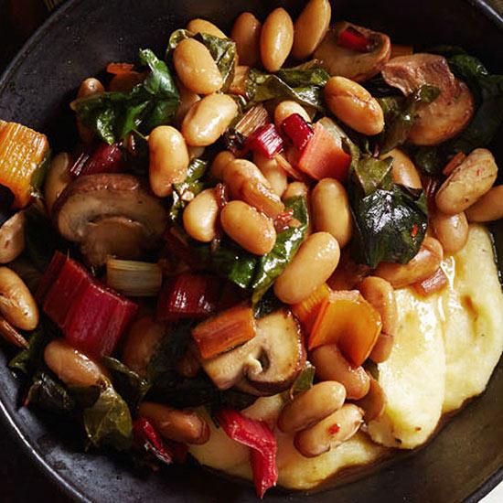 Chard, Mushroom and Cannellini Beans over Parmesan Polenta