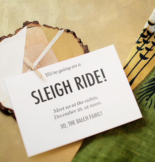 Holiday wood slice invite