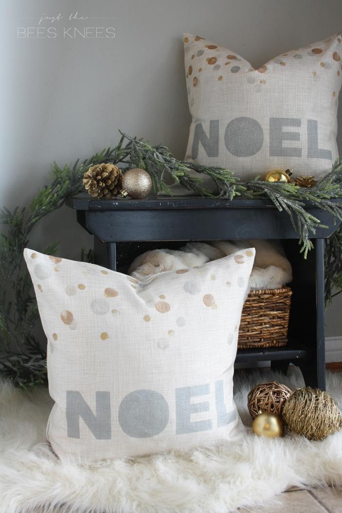 DIY holiday metallic pillows
