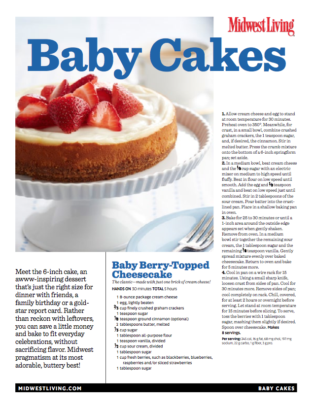 Printable Baby Cakes Cookbook