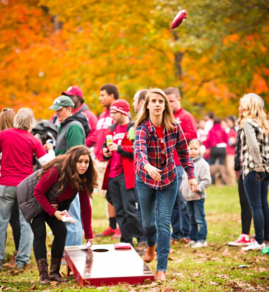 There's no shortage of IU's crimson and cream on game day.