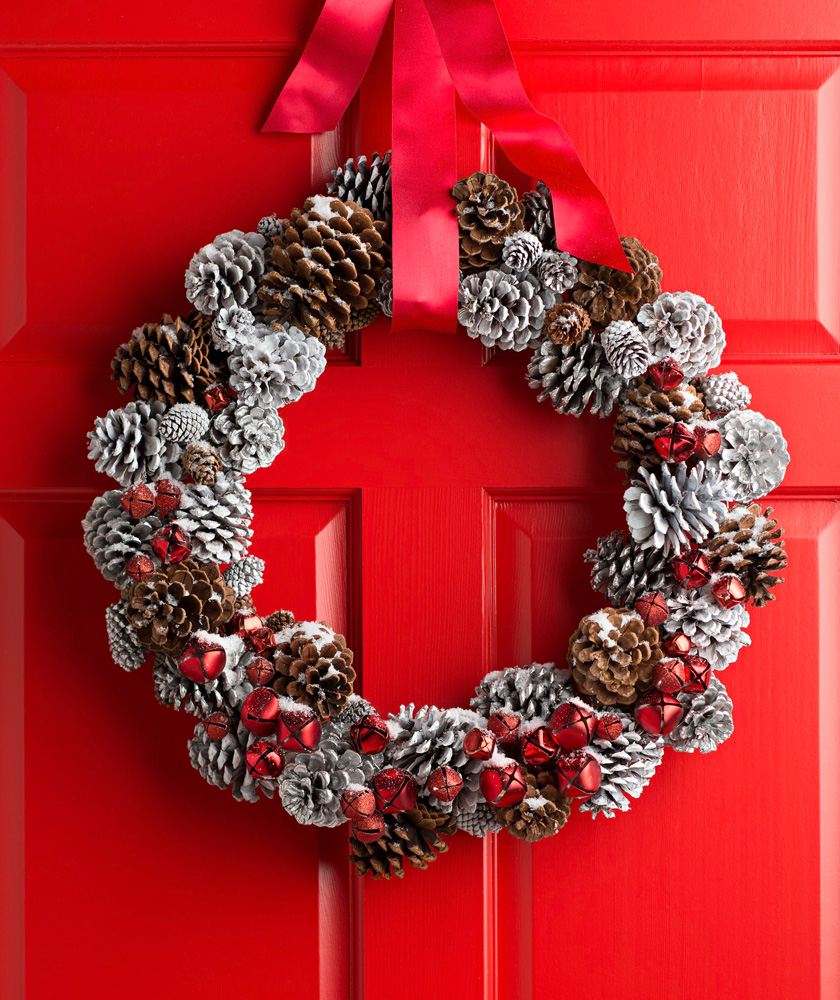 Snow-dusted pinecone wreath
