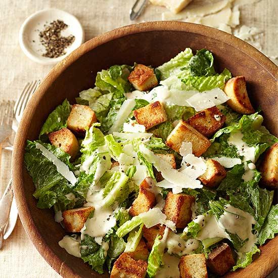 Caesar Salad with Parmesan Croutons