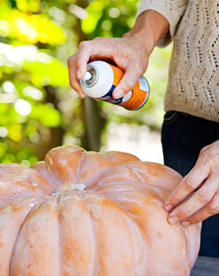 Step 1: Spray with adhesive