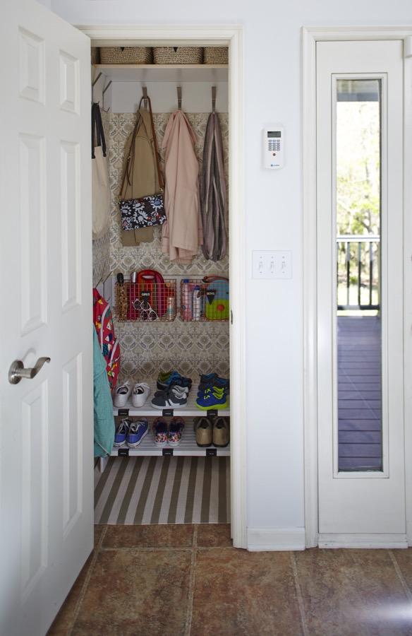 Turn a closet into a mudroom