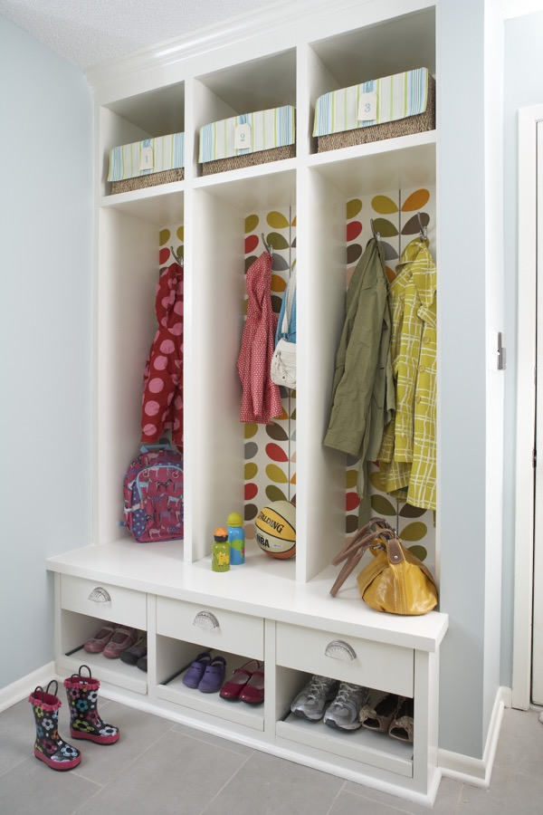 Built-ins backed with wallpaper.