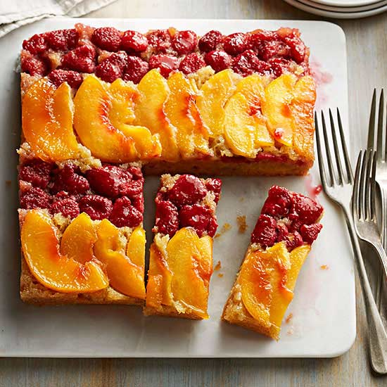 Peach Melba Upside-Down Cake