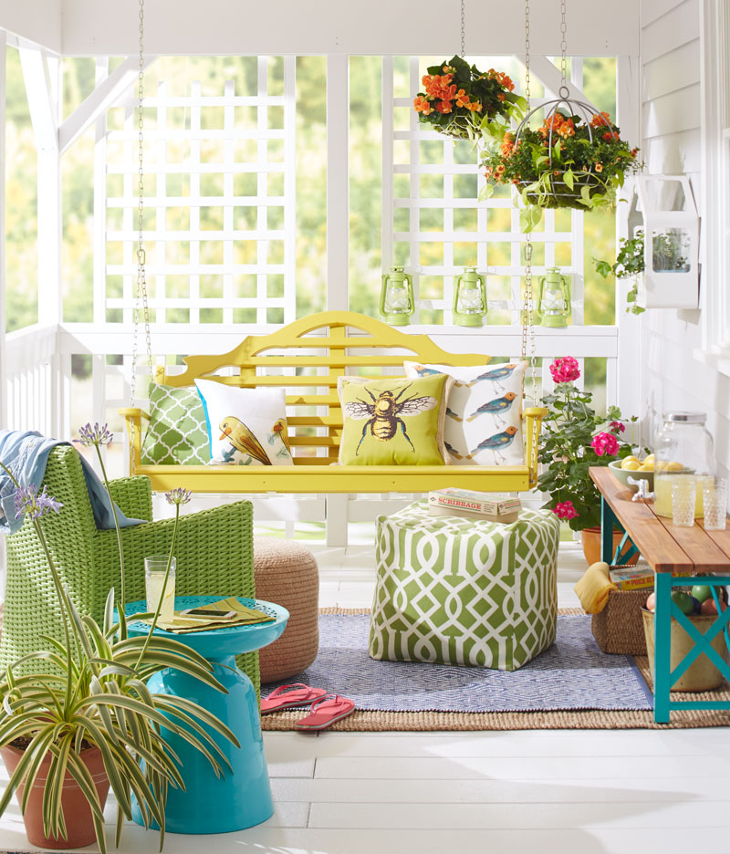 colorful spring porch