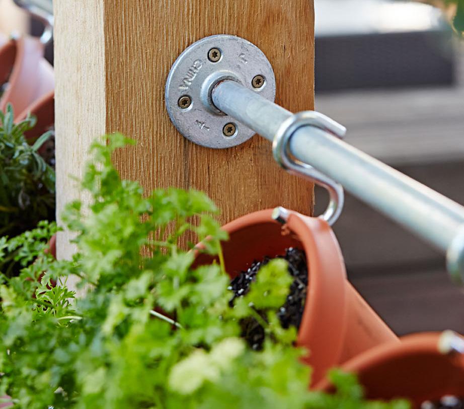 DIY herb wall closeup