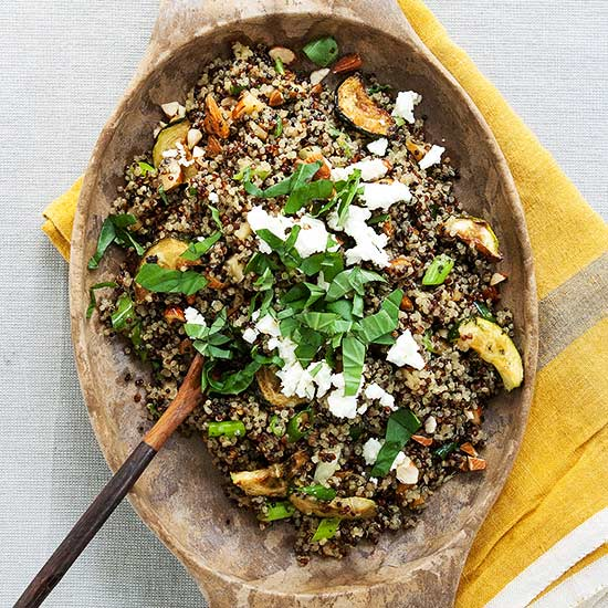 Quinoa Salad with Roasted Zucchini, Almonds and Feta