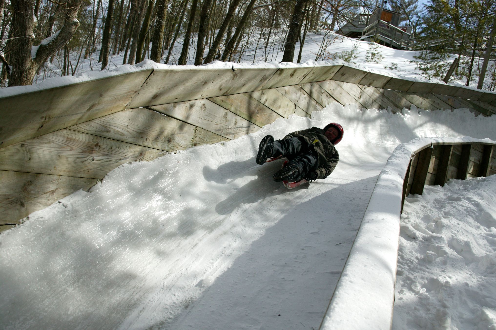 Luging at Muskegon State Park Winter Sports Complex