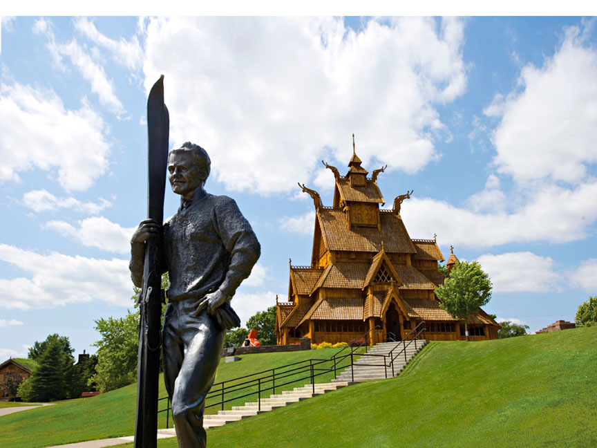 Stave Church in Scandinavian Heritage Park. Minot, North Dakota.