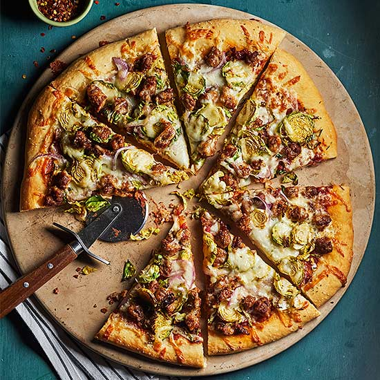 Sprouts and Sausage Pizza