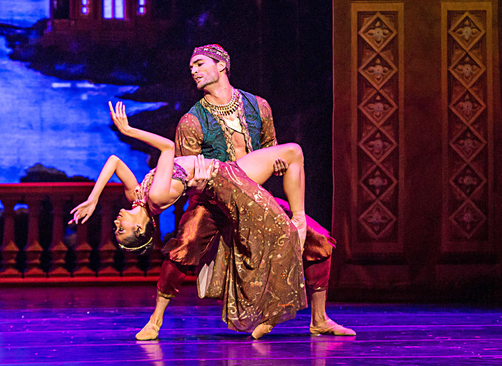 An Arabian dance offers a hypnotizing break in a show that packs its stage with dancers performing to intense musical scores.