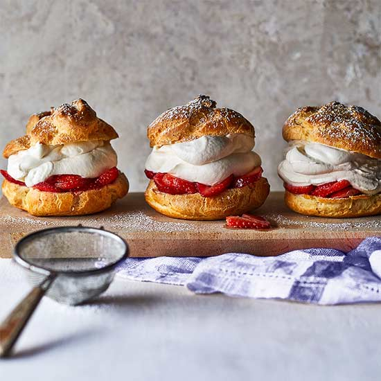 Malted Strawberry Cream Puffs