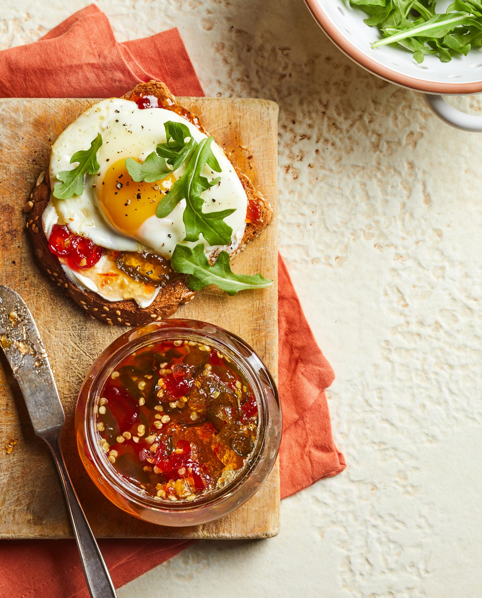 Egg sandwich with pepper jelly