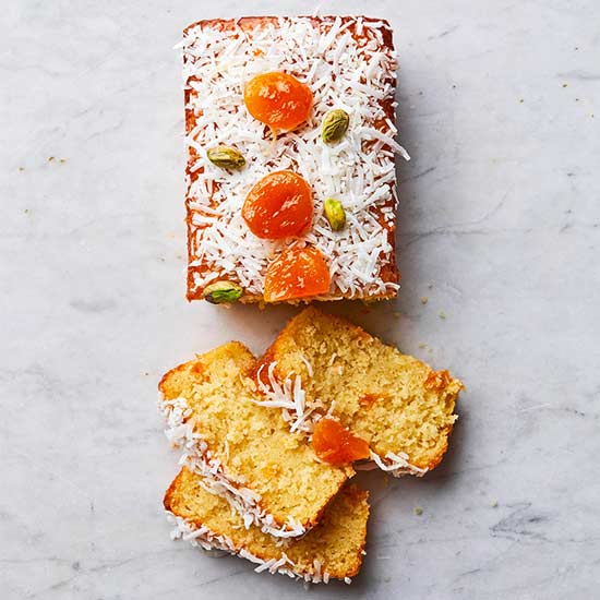 Yogurt Pound cake with Apricots and Coconut