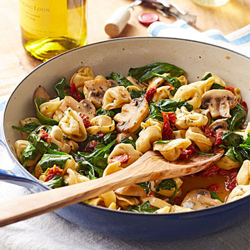Tortellini, Spinach and Mushrooms in Wine-Butter Sauce