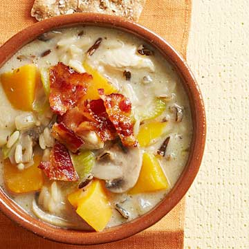 Creamy Wild Rice Soup with Maple Bacon