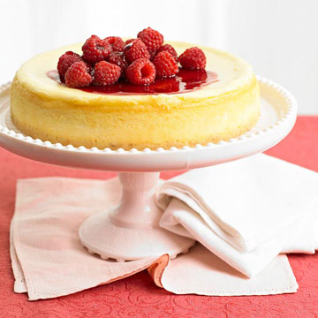 White-Chocolate Cheesecake with Triple-Raspberry Sauce